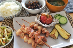 Yakitori and grilled vegetables Japanese home cooking